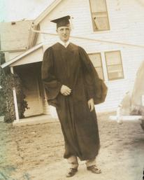 Dr. John Busch at his graduation from veterinary school in 1951.  His collection of veterinary text books was donated to the museum and was the basis of the 2017 Required Reading exhibit.